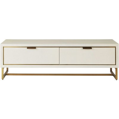Off-White and Brass Metal 2-Door TV Unit Waldorf