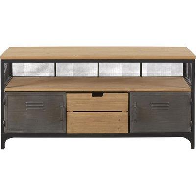 Pine and Metal 1-Drawer 2-Door Industrial-Style TV Unit Harvey