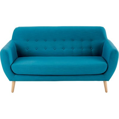 Scandinavian Petrol Blue Fabric 2/3-Seater Sofa Iceberg