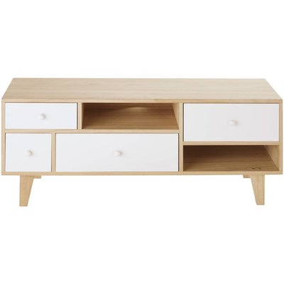 Scandinavian-Style 4-Drawer TV Unit in White Paulownia Spring