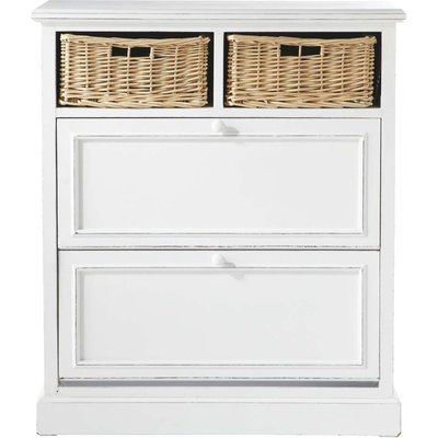 Shoe cabinet in white W 80cm Cottage