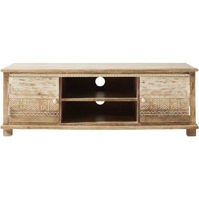 Solid Mango Wood 2-Door TV Cabinet with White Motifs Caraiba