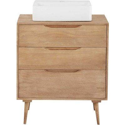 Solid Mango Wood Single Sink 2-Drawer Bathroom Vanity