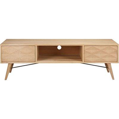Solid oak 2-drawer TV unit Keops