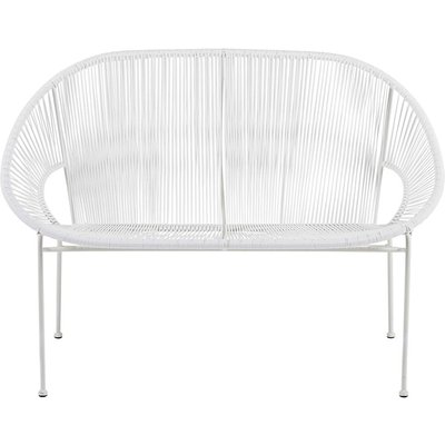 Stackable 2/3-seater garden bench in resin string and white metal Copacabana