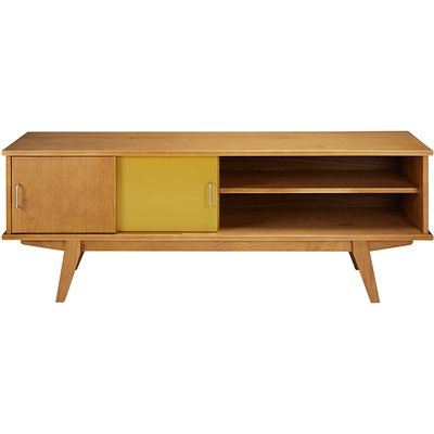 Tricoloured vintage 2-door TV unit Paulette