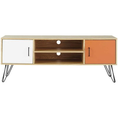 White and Orange Vintage 2-Door TV Unit Twist