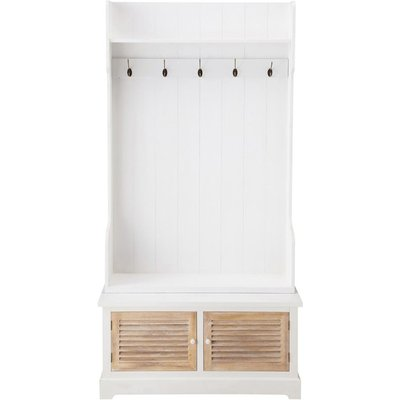 Wooden hallway unit with 5 hooks, white, W 96 cm Ouessant