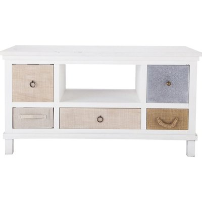 Wooden TV unit in white W 110cm Ouessant