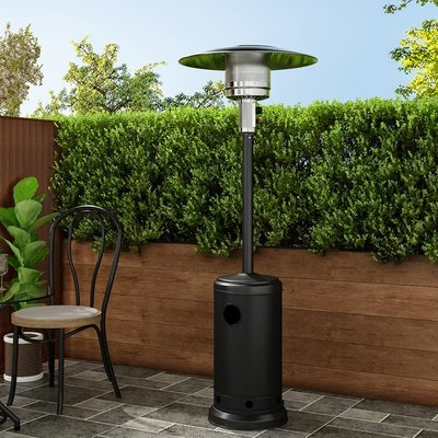 13KW Outdoor Gas Powered Patio Heater Freestanding With Wheel, Black