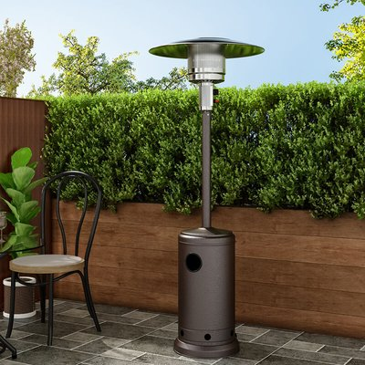 13KW Outdoor Gas Powered Patio Heater Freestanding With Wheel, Brown
