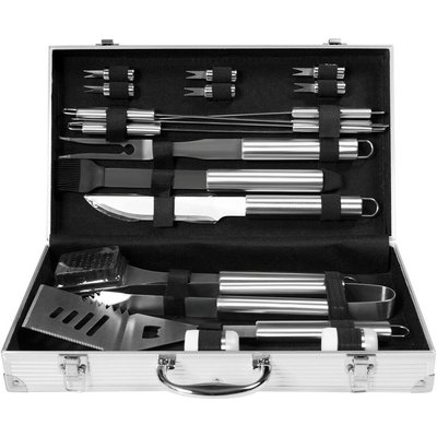 19 PCS Stainless Steel BBQ Tools Set Kit Grill Cookware Utensils Aluminum Case