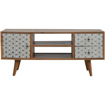 2 Drawer Geometric Screen Printed Media Unit - ARTISAN FURNITURE