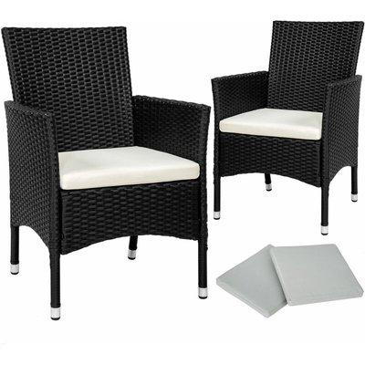 Tectake - 2 garden chairs rattan + 4 seat covers model 1 - outdoor chairs, rattan garden chairs, garden seating - black