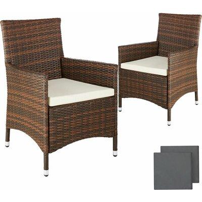 Tectake - 2 garden chairs rattan + 4 seat covers model 2 - outdoor seating, garden seating, rattan chair - brown
