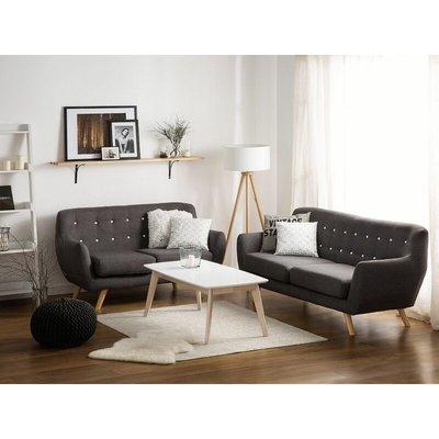Beliani - Modern Fabric 2 Seater Sofa Grey Tufted Backrest Solid Wood Legs Bodo