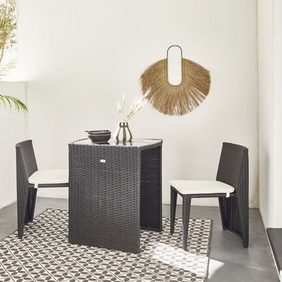 Doppio: Designer 2-seater stacking rattan table, black - ALICE'S GARDEN