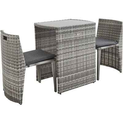 Doppio: Designer 2-seater ready assembled stacking rattan table, mixed grey - ALICE'S GARDEN