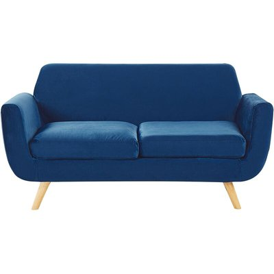 Beliani - Sofa Blue Retro Velvet Upholstery Seat Cushion Removable Cover 2-Seater Bernes