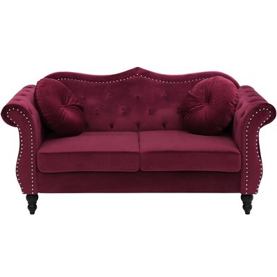 2 Seater Velvet Sofa Dark Red SKIEN - BELIANI