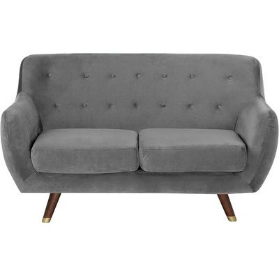 2 Seater Velvet Sofa Grey BODO - BELIANI