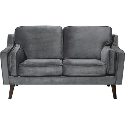 2 Seater Velvet Sofa Grey LOKKA - BELIANI