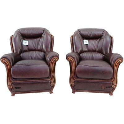 2 x Bari Armchairs Sofa Genuine Italian Burgandy Leather Offer - DESIGNER SOFAS 4 U