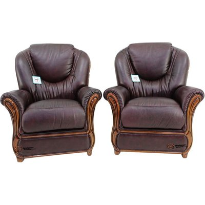 2 x Juliet Genuine Italian Sofa Armchairs Burgandy Leather - DESIGNER SOFAS 4 U