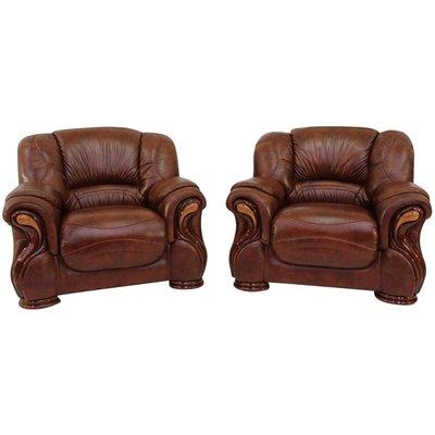 2 x Susanna Italian Leather Armchairs Tabak Brown Offer - DESIGNER SOFAS 4 U