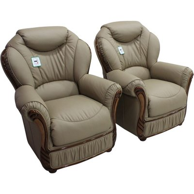 2 x Turin Armchairs Genuine Italian Coffee Milk Leather Sofa Offer - DESIGNER SOFAS 4 U