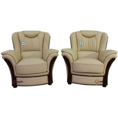 2 x Verona Genuine Italian Sofa Armchairs Cream Leather - DESIGNER SOFAS 4 U