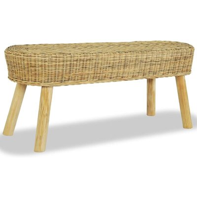 Hall Bench 110x35x45 cm Natural Rattan - Brown - Vidaxl