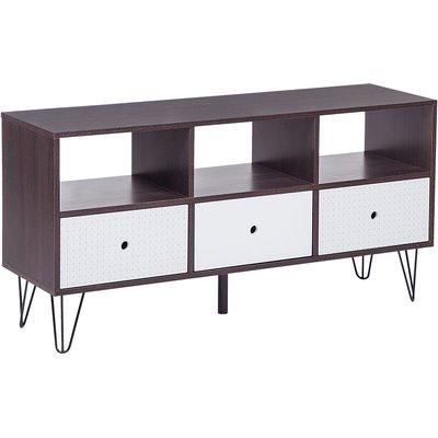 Modern TV Stand Media Unit 3 Drawers Living Room Furniture Dark Wood White Foston