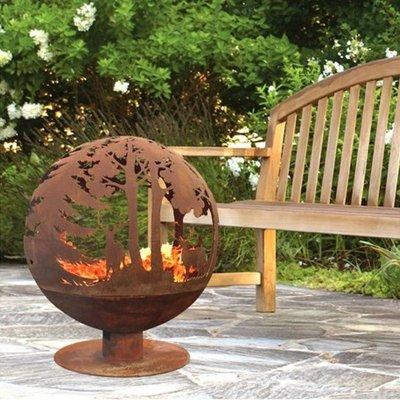 Oxidised Woodland Globe Sphere Fire Pit Basket Bowl Cast Iron - Fallen Fruits