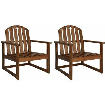 Garden Sofa Chairs 2 pcs Solid Acacia Wood - VIDAXL