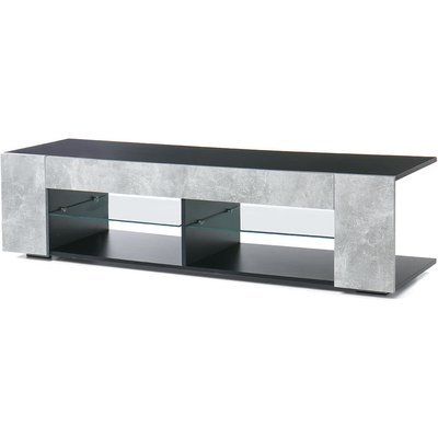 Maerex - 57 '' TV cabinet for 40-55 'TVs, multimedia console cabinet with LED lighting and open glass shelves Sasicare
