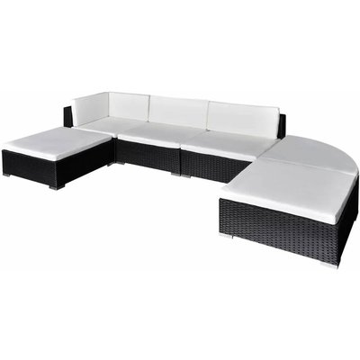 Youthup - 6 Piece Garden Lounge Set with Cushions Poly Rattan Black
