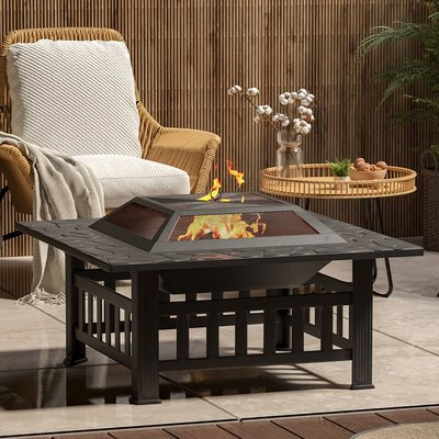 81CM Garden Fire Pit Brazier Patio BBQ Firepit Table with BBQ Grill - LIVINGANDHOME