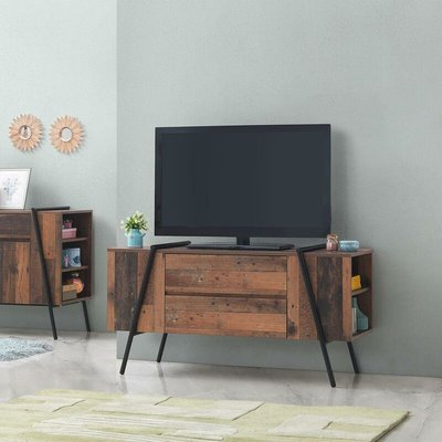 Abbey TV Unit Stand Cabinet Rustic Industrial Living Room Furniture - TIMBER ART DESIGN UK
