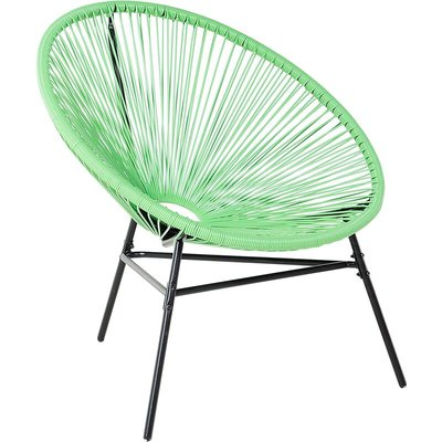 Beliani - Modern Accent Chair Round Pistachio Green Rattan Steel Living Room Acapulco