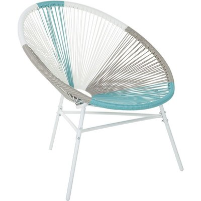 Beliani - Accent Chair Round Multicolour Turquoise Rattan Steel Living Room Acapulco