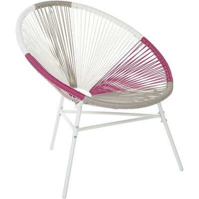 Beliani - Modern Accent Chair Round Multicolour Pink Rattan Steel Living Room Acapulco