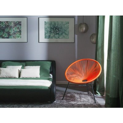 Beliani - Modern Accent Chair Round Orange Rattan Steel Living Room Acapulco