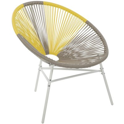 Beliani - Modern Accent Chair Round Taupe Yellow Rattan Steel Living Room Acapulco