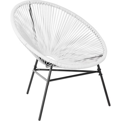 Beliani - Modern Accent Chair Round White Rattan Steel Living Room Acapulco