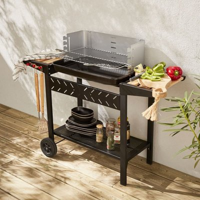 Alice's Garden - Alfred charcoal BBQ - Charcoal grill black barbecue with shelves, casters, storage, adjustable 5 level cooking