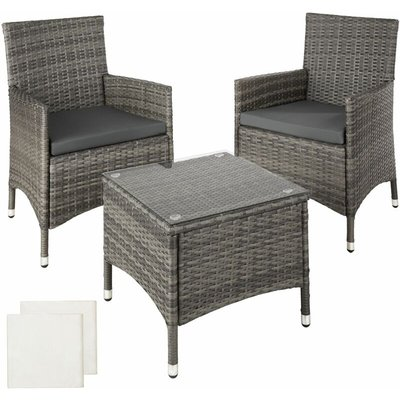 Rattan garden furniture set Athens 2 chairs + table - garden tables and chairs, garden furniture set, outdoor table and chairs - grey