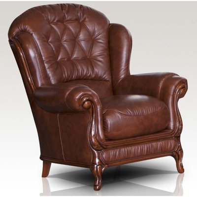 Designer Sofas 4 U - Arizona Genuine Italian Sofa Armchair Tabak Brown Leather