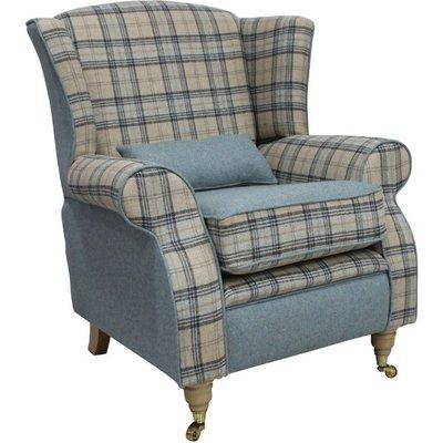 Arnold Wool Tweed Wing Chair Fireside High Back Armchair Plaid Bamburgh And Earth Eau De Nil - DESIGNER SOFAS 4 U