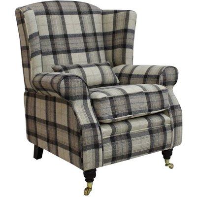 Designer Sofas 4 U - Arnold Wool Tweed Wing Chair Fireside High Back Armchair Skye Natural Check Fabric